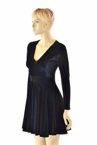 Black Velvet V neck Skater Dress - Coquetry Clothing
