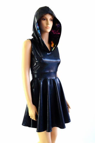 Black & Galaxy Hoodie Skater Dress - Coquetry Clothing