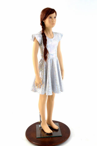 Girls Silver and White Skater Dress - Coquetry Clothing