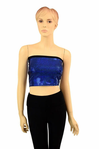 Blue Sparkly Jewel Tube Top - Coquetry Clothing