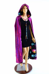 Fuchsia & Galaxy Reversible Hooded Cape - Coquetry Clothing
