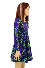 Girls Neon Melt Skater Dress - Coquetry Clothing