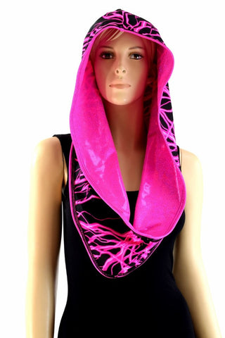 Pink Holographic & Pink Lightning Reversible Infinity Festival Hood - Coquetry Clothing