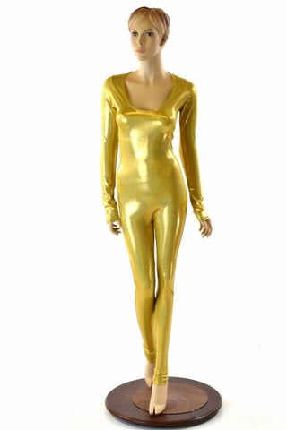 Gold Holographic Long Sleeve Catsuit - Coquetry Clothing