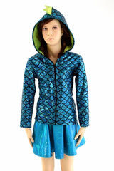 Childrens Turquoise & Lime Dragon Hoodie - Coquetry Clothing