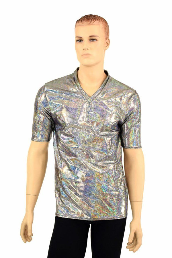 bf833d07 Mens Silver Holographic V Neck Shirt