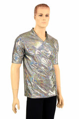 Mens Silver Holographic V Neck Shirt - Coquetry Clothing