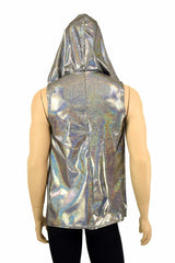 Mens Silver Holographic Zipper Hoodie - Coquetry Clothing