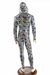 Mens Silver Cracked Tile Catsuit - Coquetry Clothing