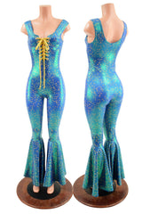 Stardust Catsuit with Bell Bottoms and Laceup Neckline - Coquetry Clothing