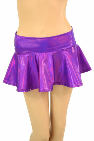 Purple Holographic Rave Mini Skirt - Coquetry Clothing