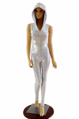 Silvery White Hooded Catsuit - Coquetry Clothing