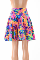"19"" Neon Tahitian Floral Skater Skirt - Coquetry Clothing"