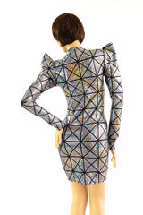 Cracked Tiles Sharp Shoulder Dress - Coquetry Clothing