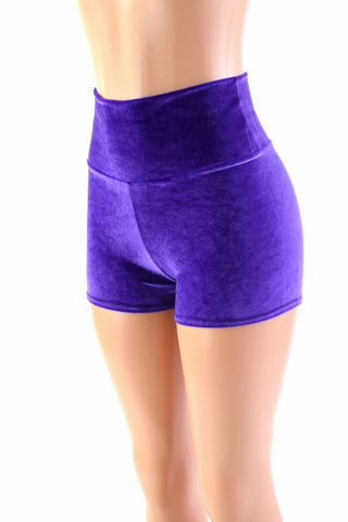 Purple Velvet High Waist Shorts - Coquetry Clothing
