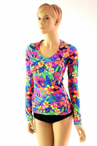 Tahitian Floral Longsleeve Top - Coquetry Clothing