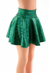Green Round Scale Mini Rave Skirt - Coquetry Clothing