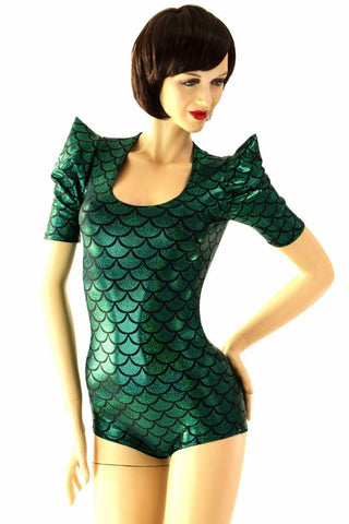 Green Dragon Sharp Shoulder Romper - Coquetry Clothing