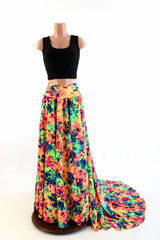 Long, High Waist Puddle Train Circle Cut Skirt - Coquetry Clothing