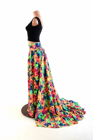 Long, High Waist Puddle Train A-line Skirt - Coquetry Clothing