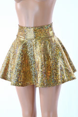Gold Shattered Glass Rave Skirt - Coquetry Clothing