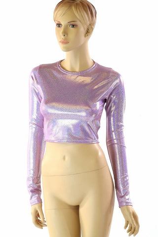 Lilac Crew Neck Crop Top - Coquetry Clothing