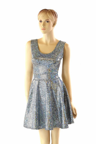 Silver Shattered Glass Tank Skater Dress - Coquetry Clothing