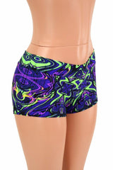 UV Glow Neon Melt Lowrise Shorts - Coquetry Clothing