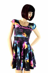 Galaxy Cap Sleeve Skater Dress - Coquetry Clothing