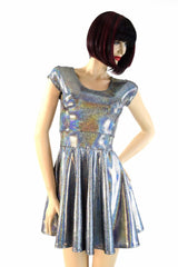 Silver Holographic Skater Dress - Coquetry Clothing