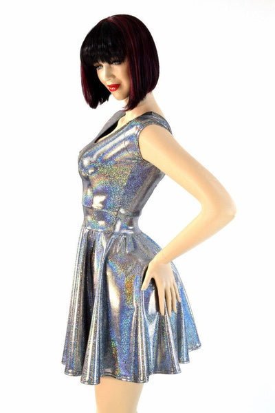 Silver Holographic Skater Dress Coquetry Clothing