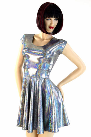 Silver Holographic Skater Dress