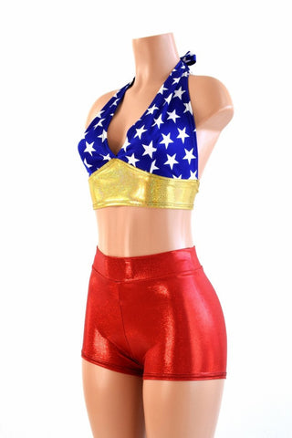 Retro Super Hero Halter & Shorts Set - Coquetry Clothing
