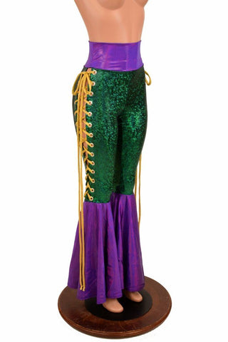 Mardi Gras Lace Up Bell Bottom Flares - Coquetry Clothing