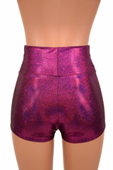 Fuchsia Holographic High Waist Shorts - Coquetry Clothing