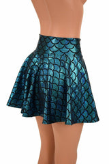 Turquoise Mermaid Mini Rave Skirt - Coquetry Clothing