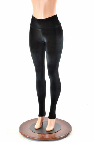 Black Velvet High Waist Leggings - Coquetry Clothing