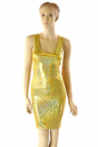 Gold Shattered Glass Tank Dress - Coquetry Clothing