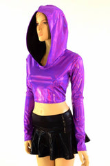 Holographic Long Sleeve Crop Hoodie - Coquetry Clothing