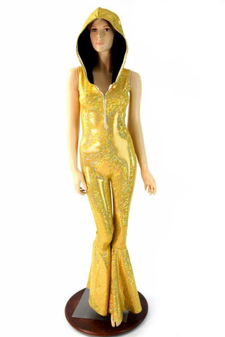 Gold Bell Bottom Flare Catsuit - Coquetry Clothing