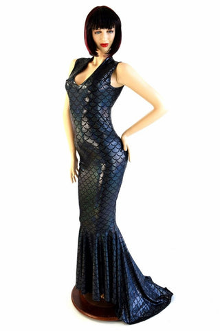 Black Mermaid V Neck Puddle Train Gown - Coquetry Clothing