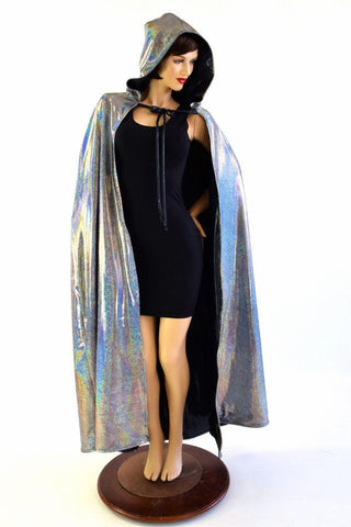 Silver and Black Reversible Cape - Coquetry Clothing