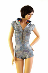 Silver Rainbow Hoodie Romper - Coquetry Clothing