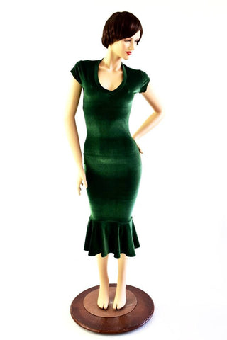Green Velvet Ruffled Wiggle Dress - Coquetry Clothing