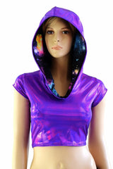 Galaxy Lined Purple Crop Hoodie - Coquetry Clothing
