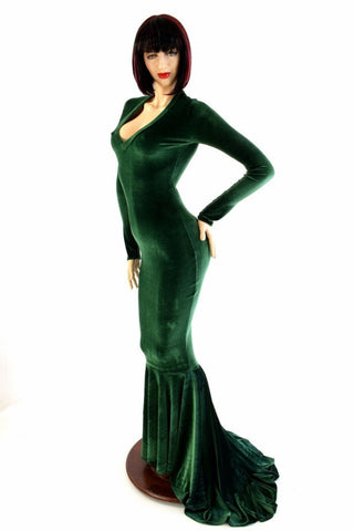 Green Velvet Gown - Coquetry Clothing