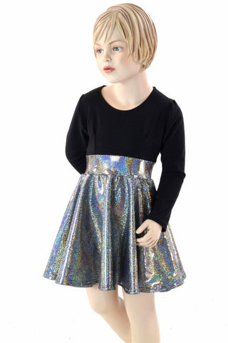 Girls Black & Silver Skater Dress