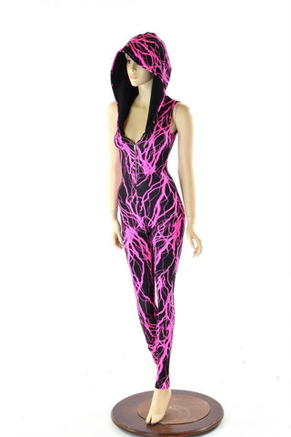 Pink Lighting Zipper Front Catsuit