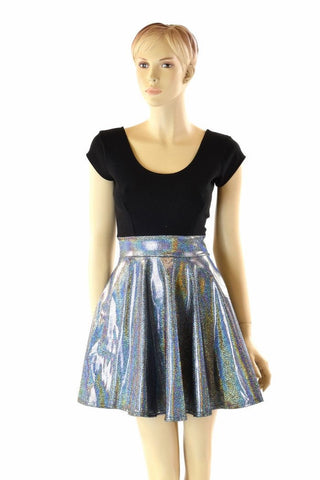 Black & Silver Holographic Skater Dress - Coquetry Clothing