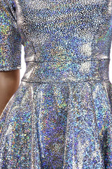 Silver Holographic Half Sleeve Dress